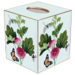Pink Peony & Butterfly Paper Mache Tissue Box Cover