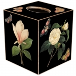 Black Magnolia, Peony & Gardenia Paper Mache Tissue Box Cover