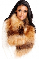 Red Fox Faux Fur Clip Scarf