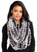Black Knitted Faux Fur Scarf