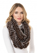 Chocolate Knitted Faux Fur Scarf