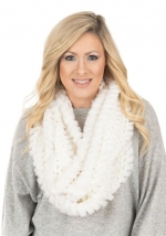 Ivory Knitted Faux Fur Scarf