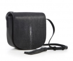 Black Shagreen Crossbody Bag