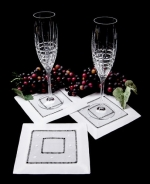 White Swiss Dot Cocktail Napkins, Set of 4