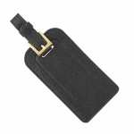 Black Leather Luggage Tags, Set of 2