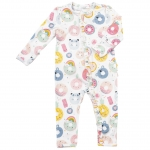 Donut Smiles Ruffle Front Zip Romper, 6-9 Months