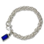 Byzantine Link Bracelet with Blue Tag