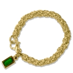 Gold Byzantine Link Bracelet with Green Tag