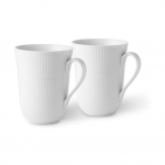 White Fluted Mugs, Set of Two