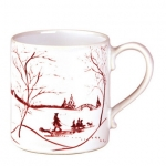 Country Estate Winter Frolic Ruby  Mug Made in Portugal and is oven, microwave, dishwasher and freezer safe.