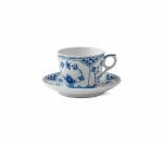 Blue Fluted Half Lace Coffee Cup and Saucer Microwave and Dishwasher Safe.