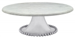 Pearled Large Marble Cake Stand