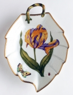 Old Master Tulips Purple and Yellow Tulip Leaf Dish