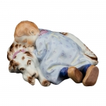 Child Sleeping on Dog