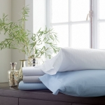 Savoia Stripe Sateen White King Duvet Cover