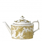 Gold Aves Large Tea Pot Complete your tea set with this durable fine bone china 6 cup teapot in the classic Duesbury shape with long spout which is also perfect as a gift! Showcasing design excellence through its hand decorated 22 carat gold, the Aves range is perfect to complement a dining experience or afternoon tea setting.