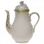 Princess Victoria Green 36 Ounce Coffee Pot with Rose