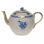 Chinese Bouquet Blue 60 Ounce Teapot with Rose