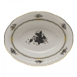 Chinese Bouquet Black Oval Vegetable Dish