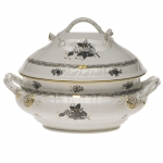 Chinese Bouquet Black Tureen with Branch Handles