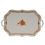 Chinese Bouquet Rust Rectangular Tray with Branch Handles