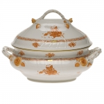 Chinese Bouquet Rust 4 Quart Tureen with Branch Handles