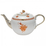Chinese Bouquet Rust 60 Ounce Tea Pot with Rose