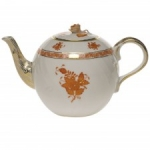 Chinese Bouquet Rust 36 Ounce Tea Pot with Rose