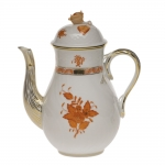 Chinese Bouquet Rust 36 Ounce Coffee Pot with Rose