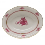 Chinese Bouquet Raspberry Oval Vegetable Dish