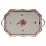 Chinese Bouquet Raspberry Rectangular Tray with Branch Handles