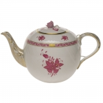 Chinese Bouquet Raspberry 36 Ounce Tea Pot with Rose