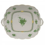 Chinese Bouquet Green Square Cake Plate