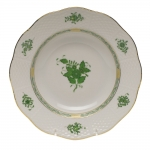 Chinese Bouquet Green Rim Soup Plate