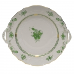 Chinese Bouquet Green Chop Plate with Handles