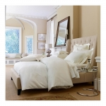 Savoia Stripe Sateen White Queen Fitted Sheet