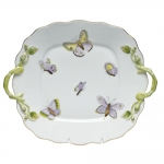 Royal Garden Square Cake Plate with Handles