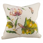 Hand Painted Leaf Flower Butterfly Pillow