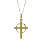 Gold Cross in Circle Pendant