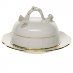 Golden Edge Round Covered Butter Dish