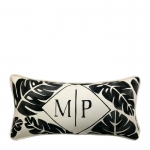 Hand Painted Palm Monogram Lumbar Pillow