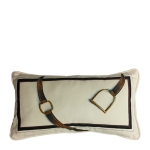 Hand Painted Stirrup and Strap Lumbar Pillow