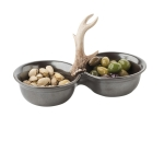 Forest Pewter Two Bowl Server