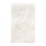 Linen Monogram White Hand Towel