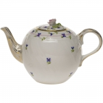 Blue Garland Tea Pot with Rose