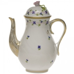 Blue Garland Coffee Pot with Rose