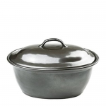 Pewter Stoneware Large Covered Casserole