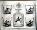 Seabiscuit Decanter Set with Four Double Old Fashions