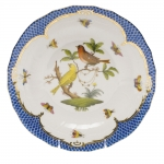 Rothschild Bird Blue Border Dessert Plate, Motif #6