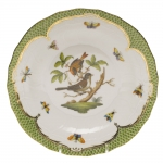 Rothschild Bird Green Border Dessert Plate, Motif #4